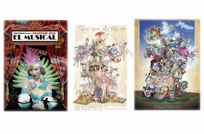 Tres bocetos de las fallas de la sección especial