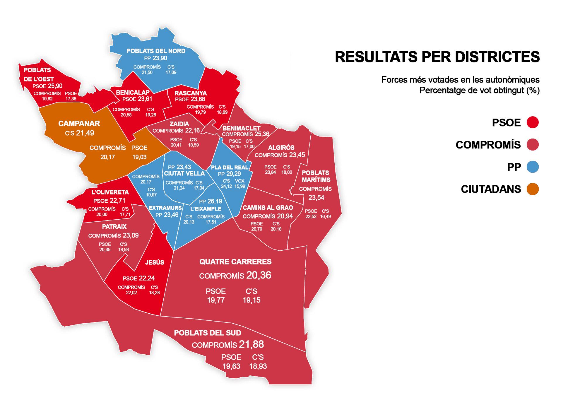 Mapa Zona Azul Valencia.El Mapa De Valencia Cambia Sus Colores Politicos