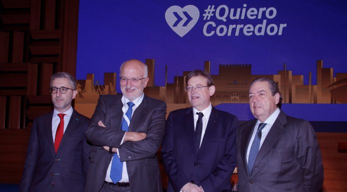 ,Ximo Puig, Vicente Boluda, Juan Roig y Arcadi España en el acto en defensa del Corredor Mediterráneo. EFE/MORELL