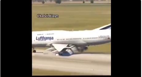 Captura del vídeo del supuesto aterrizaje forzoso.