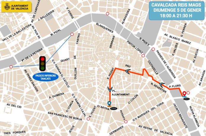 Plano recorrido y cortes de tráfico de la Cabalgata de Reyes de Valencia