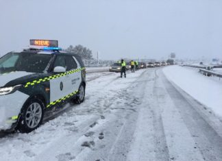 Agentes de la Guardia Civil en la carretera A-31 sentido Alicante.
