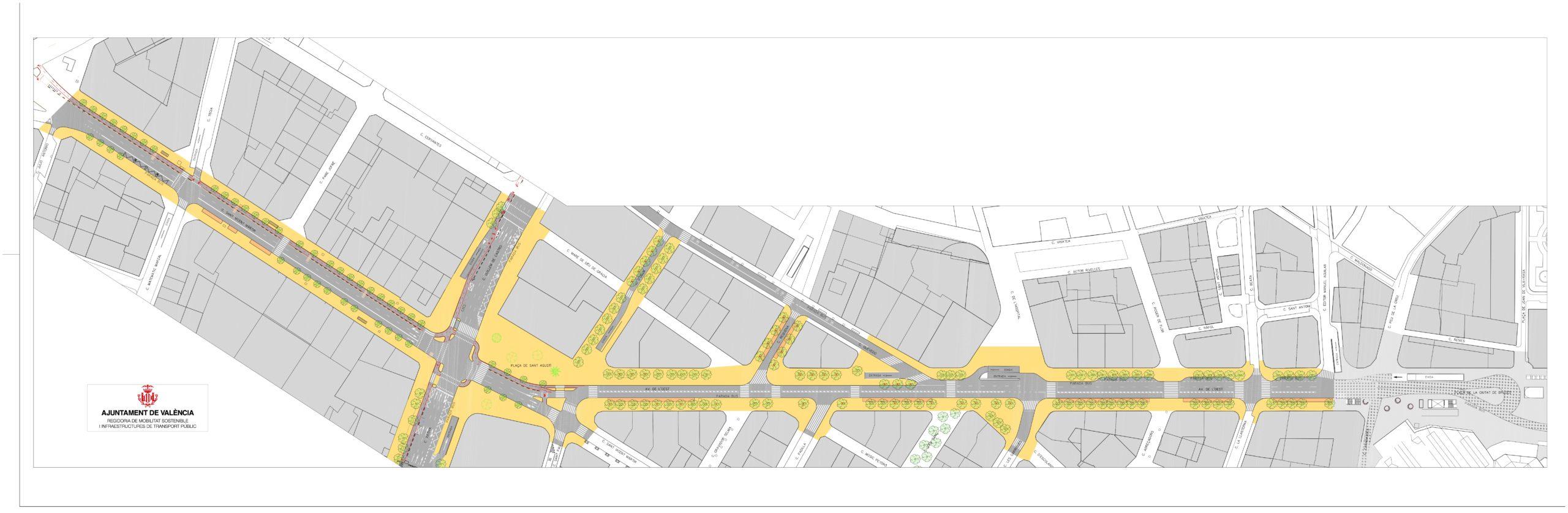 El concejal de Movilidad Sostenible, Giuseppe Grezzi, ha anunciado la esta mañana la elaboración de un plan específico que recoja y unifique los criterios de actuación en Ciutat Vella. El edil ha presentado la planta viaria proyectada para el eje urbano avenida de l'Oest-Sant Agustí- Plaça d'Espanya, que permitirá ampliar en más de 4.000 metros cuadrados los espacios para uso peatonal. Tanto el proyecto para el eje de la avenida del Oeste como las actuaciones precedentes que se han desarrollado e impulsado desde el pasado mandato (la entrada en vigor del límite de velocidad 30Km/h, la apertura de la plaza del Ayuntamiento a la ciudadanía cada último domingo de mes, la actuación en la calle Serranos y su entorno, el proyecto de peatonalización de la plaza del Ayuntamiento, o la transformación del entorno de La Lonja…), «todo son actuaciones integrales de un mismo proyecto transformación urbana», ha asegurado el concejal, «un programa específico que se basa en la humanización de las plazas y en la recuperación del espacio peatonal». Tal como ha asegurado Grezzi, «en el mandato 2015-2019 ya conseguimos recuperar más de 33.000 metros cuadrados para uso ciudadano, pero podemos asegurar que este nuevo mandato va a ser el de la movilidad peatonal, el mandato de las personas que caminan, para que sea cada vez más seguro, más accesible y más amable, y consigamos una ciudad más humana y más eficiente». «Para ello, desde el Ayuntamiento se elaborará un plan del centro de València (todavía sin nombre específico) que desarrolle todas las líneas estratégicas y las actuaciones de humanización del centro de la ciudad y de las plazas y la recuperación del espacio peatonal», ha explicado el edil. Giuseppe Grezzi ha estado acompañado en el encuentro con periodistas por la jefa del Servicio de Movilidad Sostenible, Ruth López, quien ha sido la encargada de detallar todas las características de la actuación en la avenida del Oeste. Se trata de un proyecto transversal que enlaza con las 