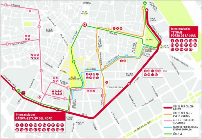 Nuevo plano de las líneas de la EMT en el centro de Valencia