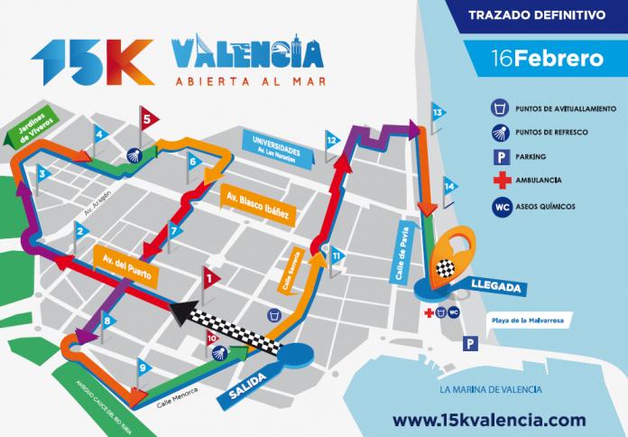 calles recorrido 15K Valencia Abierta al Mar