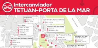 Plano de las líneas que pararán en el intercambiador de Tetuán-Porta de la Mar