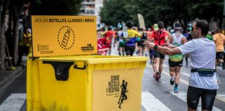 Reciclaje de envases durante el maratón de Valencia