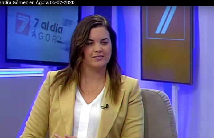Sandra Gómez en los platós de 7 Televalencia.