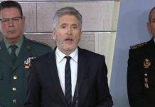 Fernando Grande-Marlaska durante el anuncio del cierre de fronteras terrestres.