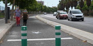 Peatonalizan el carril bus de una gran avenida de Valencia