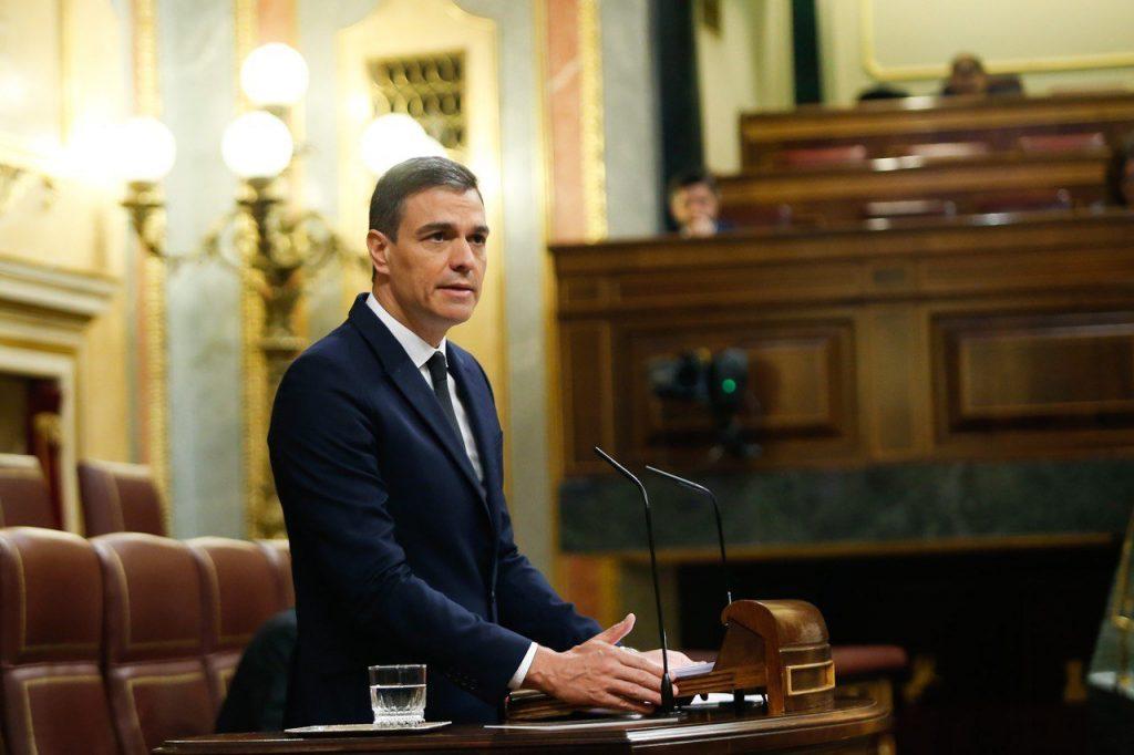 El presidente del Gobierno, Pedro Sánchez, en su comparecencia en el Congreso.