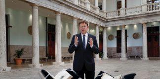 El presidente de la Generalitat, Ximo Puig, durante el discruso de Fin de Año.