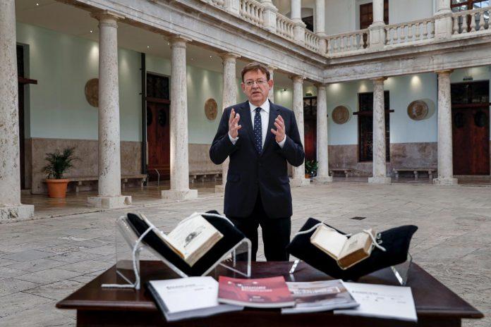 El presidente de la Generalitat, Ximo Puig, durante el discurso de Fin de Año.