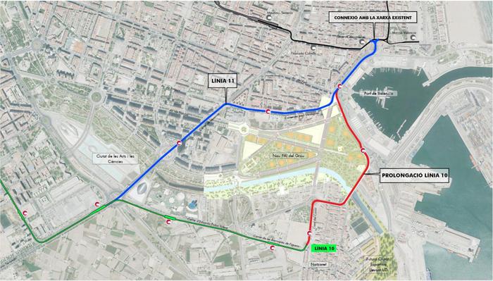 Línea 10 ampliación y 11 metrovalencia