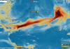 Imagen de satélite del avance de la nube de azufre del volcán Soufrière. / Copernicus EU