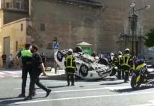 Impactante accidente de tráfico en la avenida del Puerto de Valencia