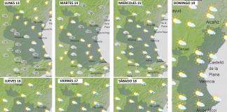 Previsión del tiempo para la semana del 13 al 19 de septiembre. / Gráficos de Aemet.