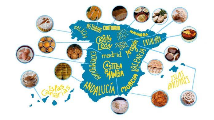 Un mapa de España señala cuál es el postre típico de Valencia